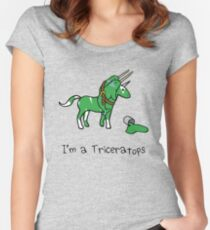 I'm A Triceratops (Unicorn + Narwhals) Women's Fitted Scoop T-Shirt