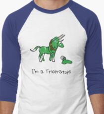 I'm A Triceratops (Unicorn + Narwhals) Men's Baseball ¾ T-Shirt