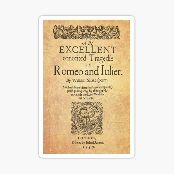 Shakespeare, Romeo and Juliet 1597 Pegatina
