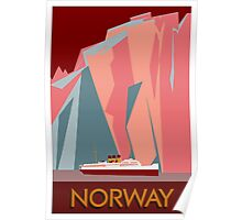 Norway fjords retro vintage style cruise travel  Poster