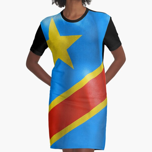 Democratic Republic of the Congo Flag Graphic T-Shirt Dress