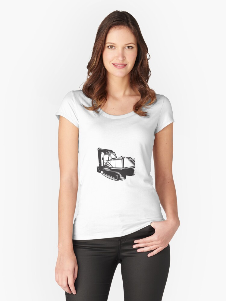 Mechanical Digger Excavator Retro  Women's Fitted Scoop T-Shirt Front