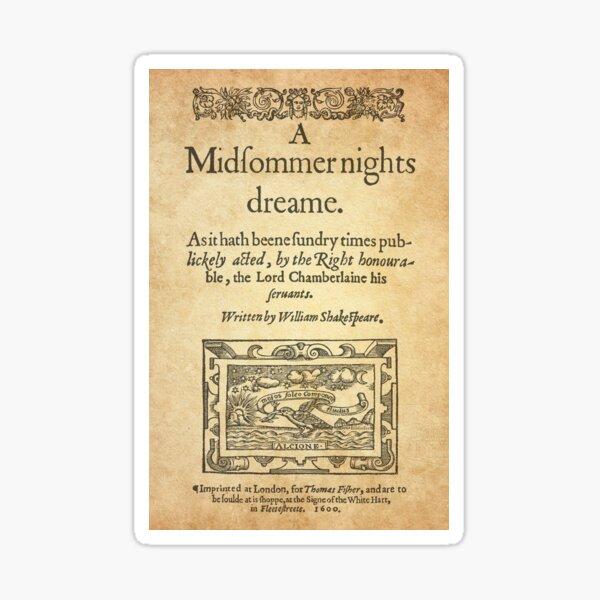 Shakespeare, A midsummer night's dream 1600 Pegatina