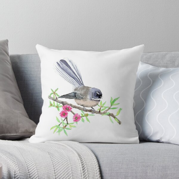 New Zealand Fantail on Manuka Throw Pillow