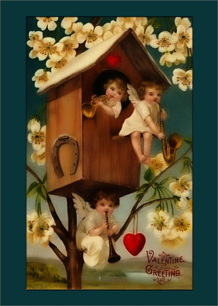 Valentine-Cupids in Birdhouse by Yesteryears