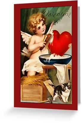 Valentine-Cupid and Kitten by Yesteryears