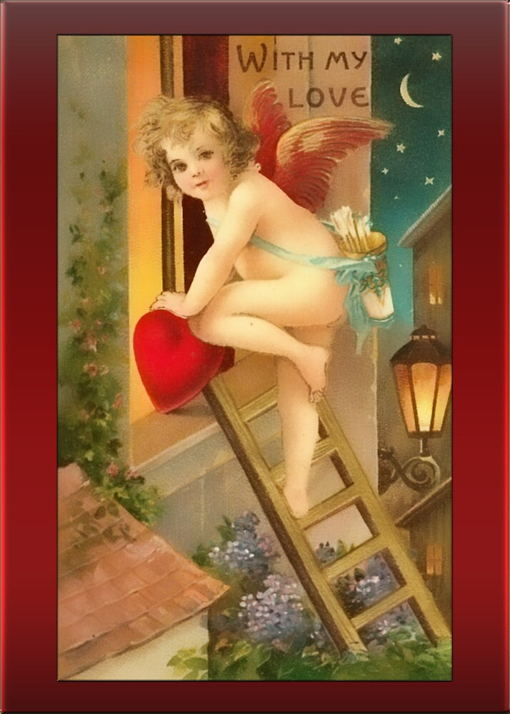 Valentine-Cupid on Ladder by Yesteryears