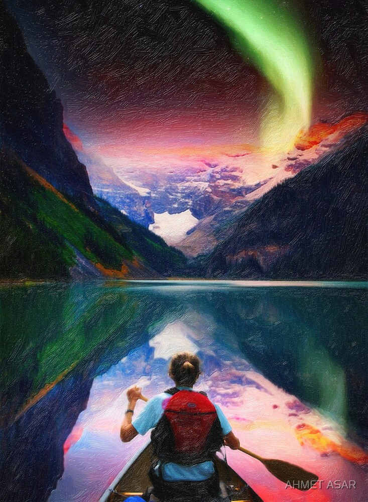 canoeing in banff under northern light art by MotionAge Media