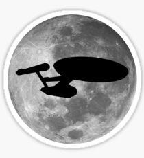 USS Enterprise against the Moon Sticker