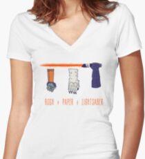 Rock Paper Lightsaber Women's Fitted V-Neck T-Shirt