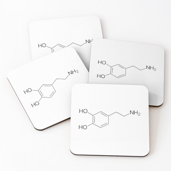 Dopamine Molecule Coasters (Set of 4)