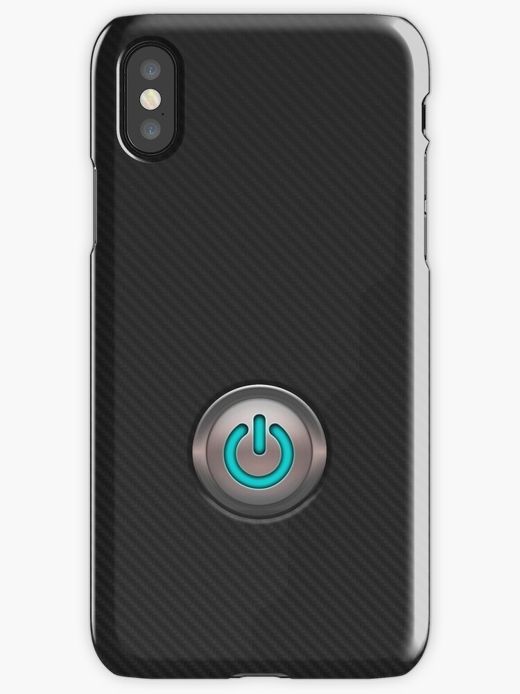 carbon fibre iPhone case with neon power button by PixelRider