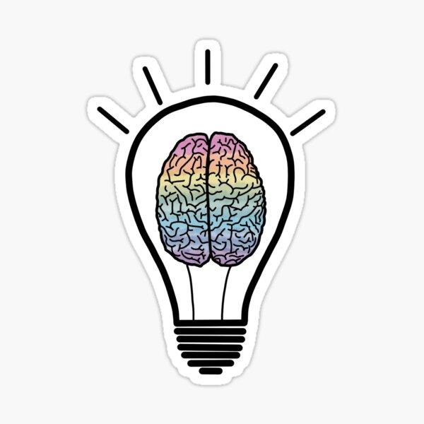 Brainbulb Rainbow Brain Lightbulb Sticker
