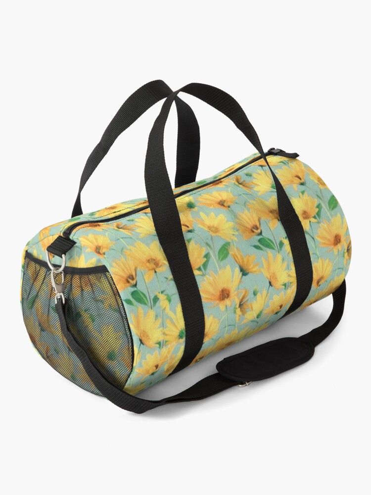 Alternate view of Painted Golden Yellow Daisies on soft sage green Duffle Bag