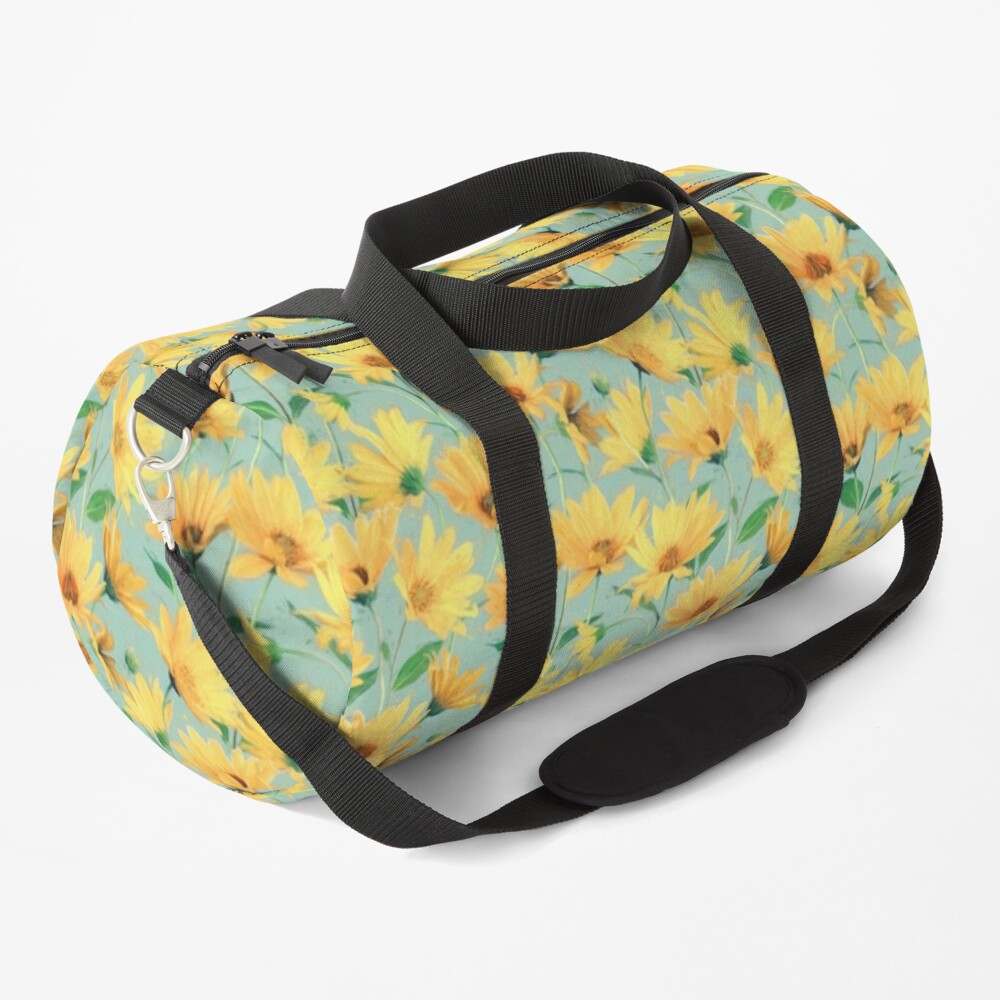 Painted Golden Yellow Daisies on soft sage green Duffle Bag