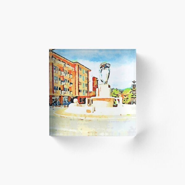 L'Aquila: buildings and fountain Acrylic Block