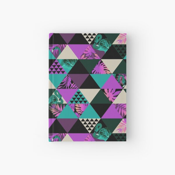 Dreiecksmuster - Flamingoblätter 2 Notizbuch