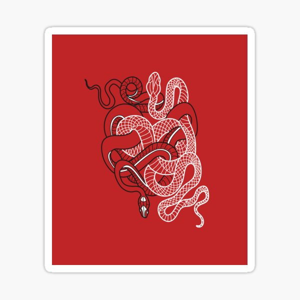 Two intertwined snakes Sticker