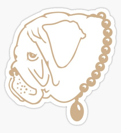 Pug with pearls VRS2 Sticker