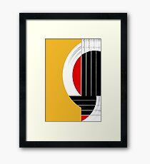 Geometric Guitar Abstract in Orange Red Black White Framed Print