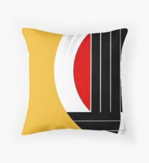 Geometric Guitar Abstract in Orange Red Black White Throw Pillow