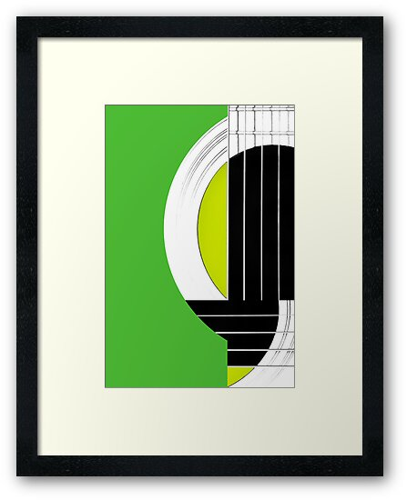 Geometric Guitar Abstract in Green Black White by Natalie Kinnear