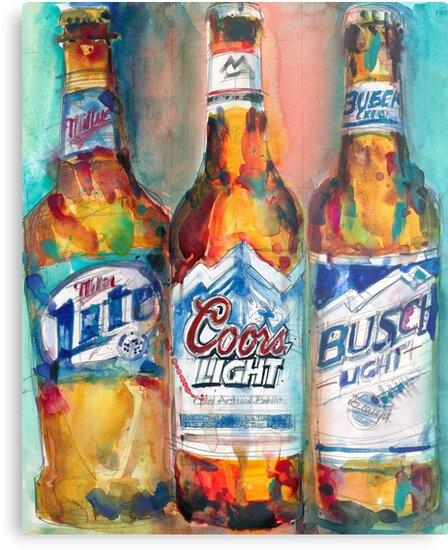 «Miller Lite, Coors Light, Busch Light   Cerveza Lámina  » De Dorrie