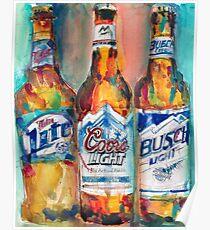 Miller Lite, Coors Light, Busch Light - Beer Art Print -  Poster
