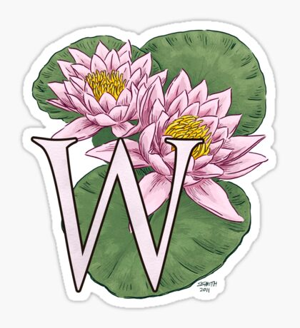 W is for Water Lily Card Sticker