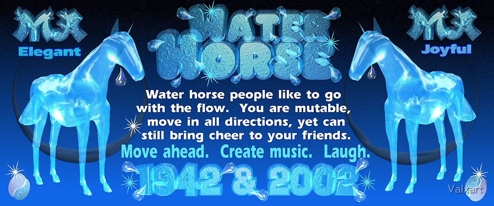 Chinese Zodiac, water horse, 1942, 2002, born,   by Valxart