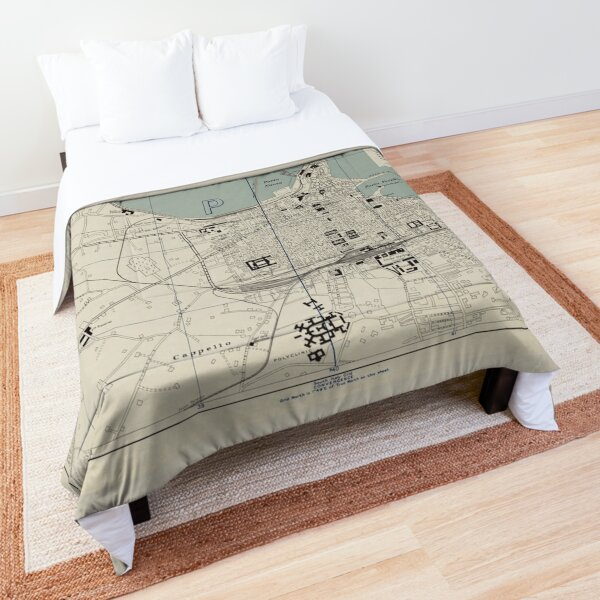 Vintage Map of Bari Italy (1943) Comforter