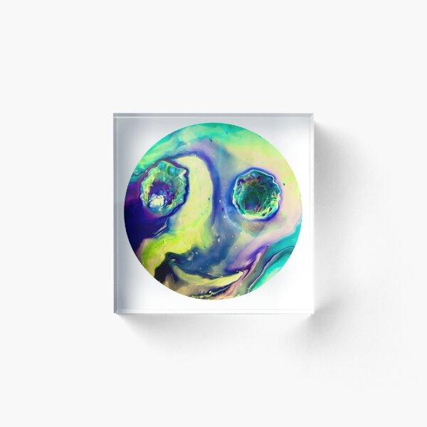"""Happy Alien Influences"" Acrylic Pour Acrylic Block"