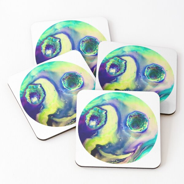 """Happy Alien Influences"" Acrylic Pour Coasters (Set of 4)"