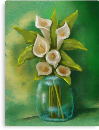 Jar of Calla Lilies by CheriesArt