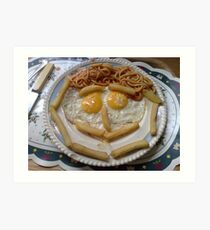 curly egg nd chips  Art Print