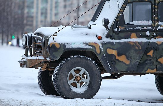 truck in the snow by mrivserg