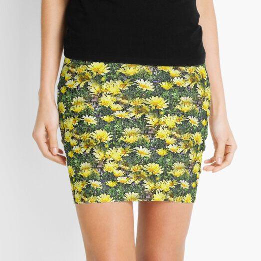 Lots Of Yellow Daisies Flower Art Mini Skirt
