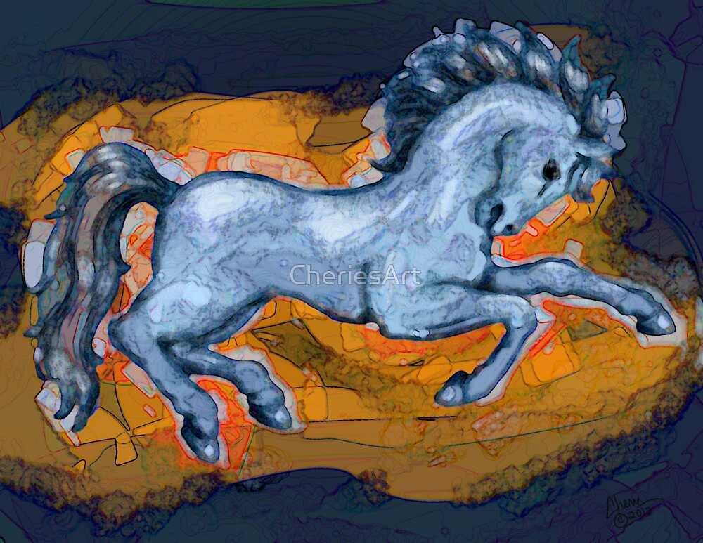 Prancing Blue Horse by CheriesArt