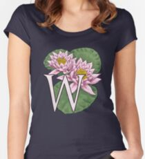 W is for Water Lily floating Women's Fitted Scoop T-Shirt