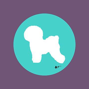Bichon Frise Silhouette - Aqua Dot by theresatorres