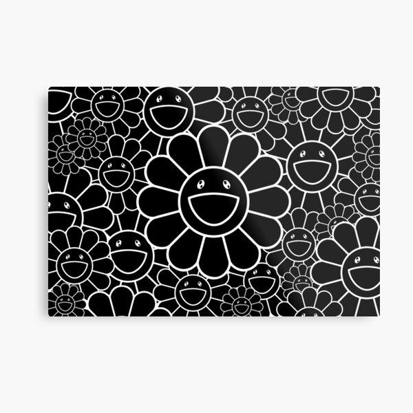 flower mask takashi murakami black white Metal Print
