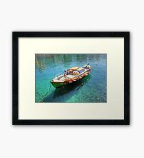 Little fishing boat from Crete  Framed Print