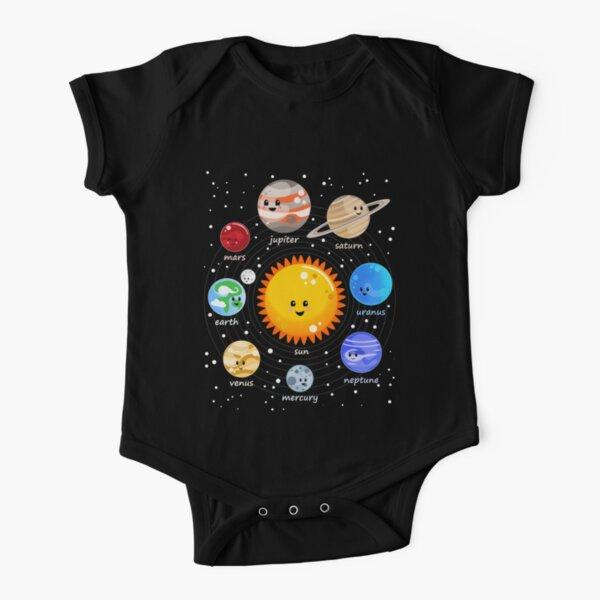 Solar system happy Kawaii style Short Sleeve Baby One-Piece