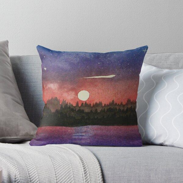 Watercolour sunset over mountain Throw Pillow