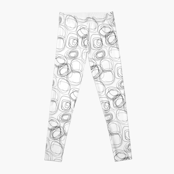 Swirl Lines 1 | Abstract Black and White Pattern Leggings
