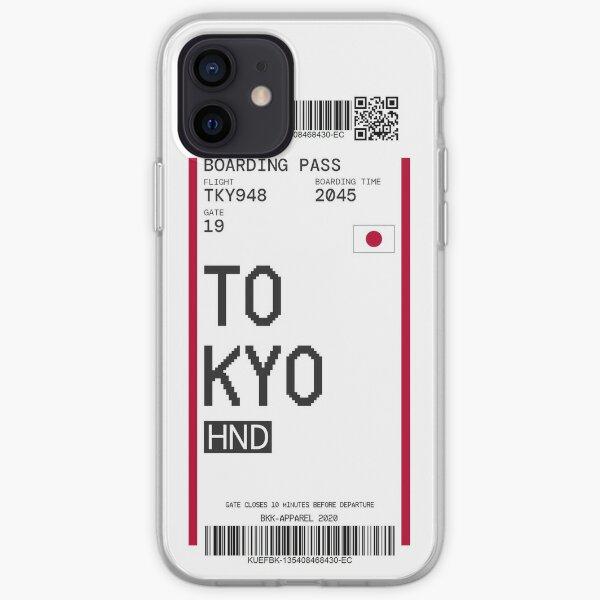 Vinilo o funda para iPhone Estilo de boleto de avión de equipaje con tarjeta de embarque con código de barras Funda blanda para iPhone