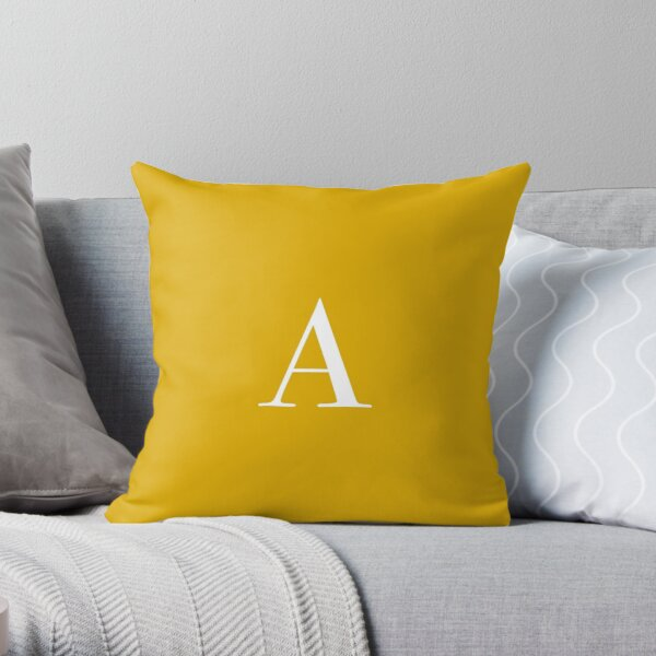 "The Letter ""A"" - Mustard Yellow Throw Pillow"