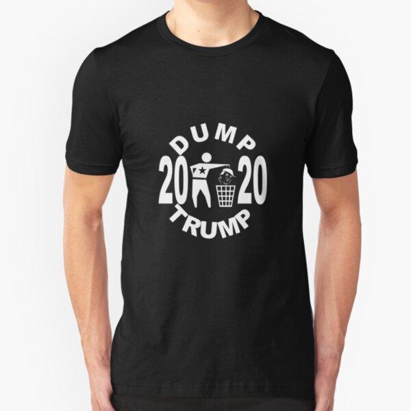 Dump Trump 2020 round monochrome white Slim Fit T-Shirt