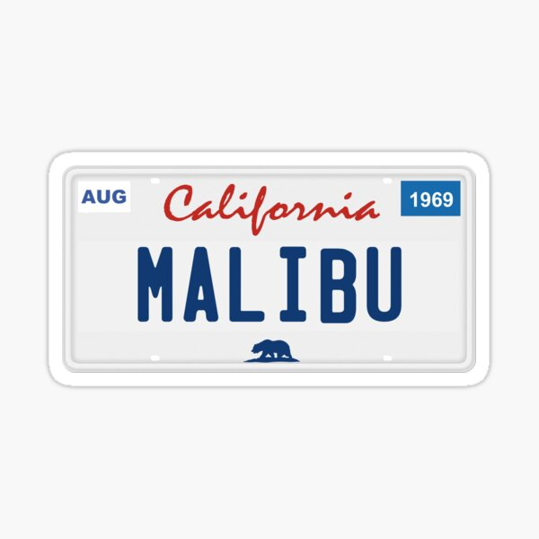 Malibu - California. Sticker