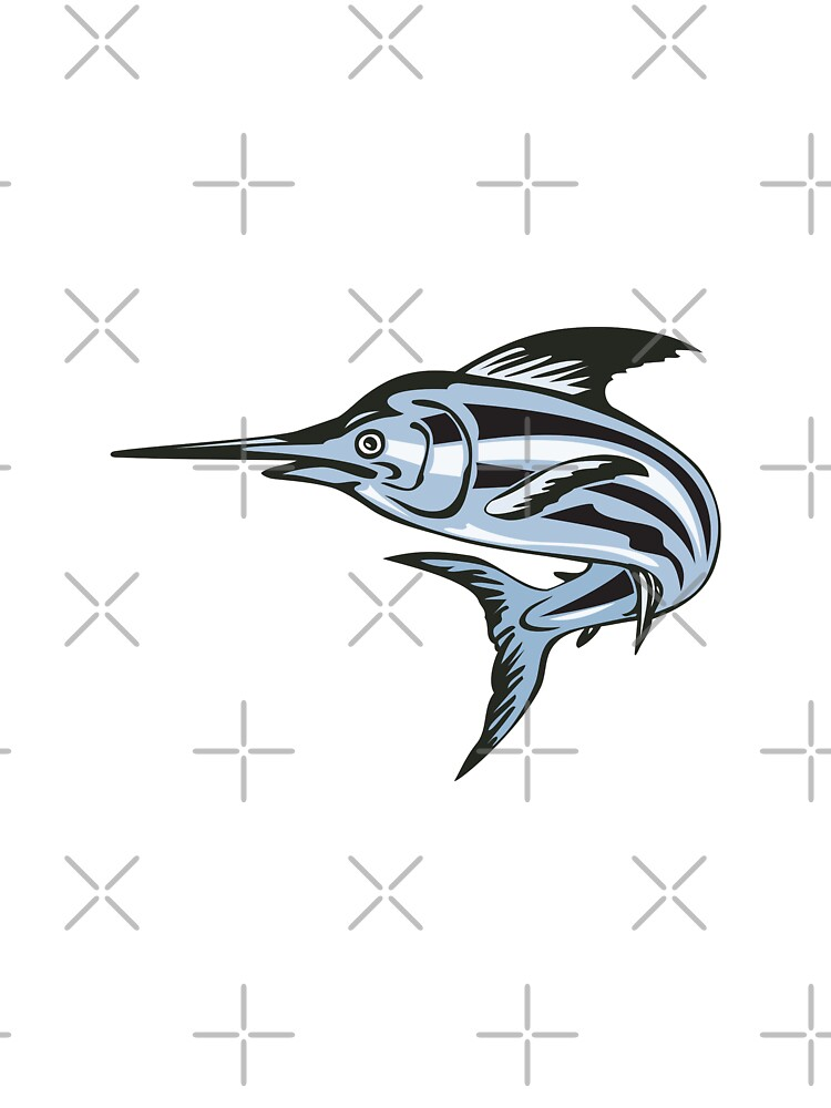 Blue Marlin Fish Jumping Retro by patrimonio